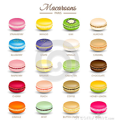 Colorful macaroons flavors