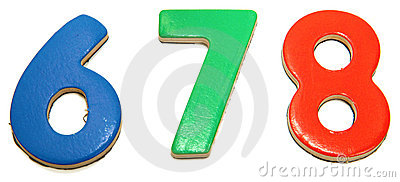 Colorful Magnetic Numbers 6 7 8