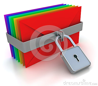 Colorful mail and lock