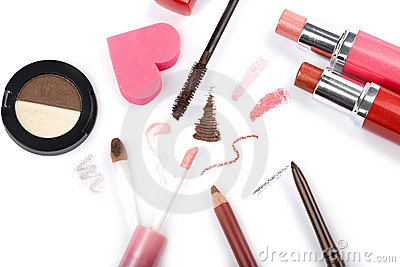 Colorful makeup collection isolated