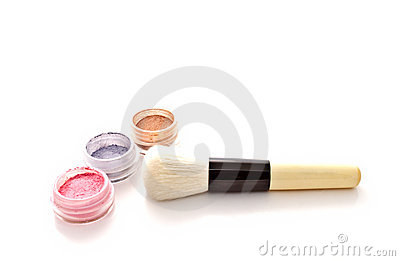 Colorful makeup powder set and brush