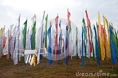 Colorful Mantra flag field in Darjeeling