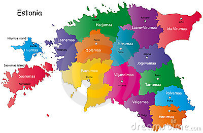 Colorful map of Estonia