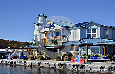 Colorful Marina and Restaurant Editorial Stock Image