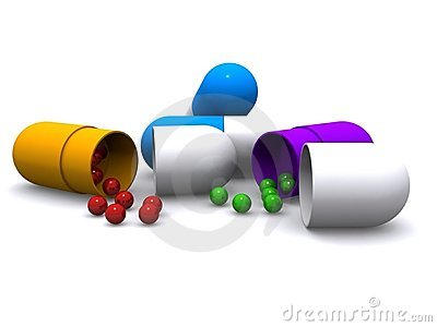 Colorful medicine tablets