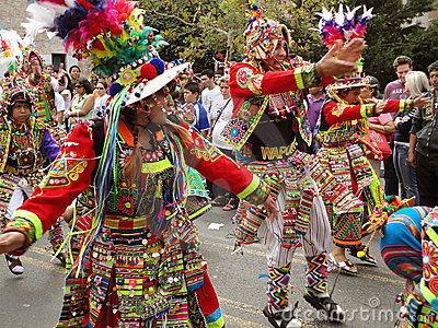 Colorful Men at the Parade Editorial Stock Photo