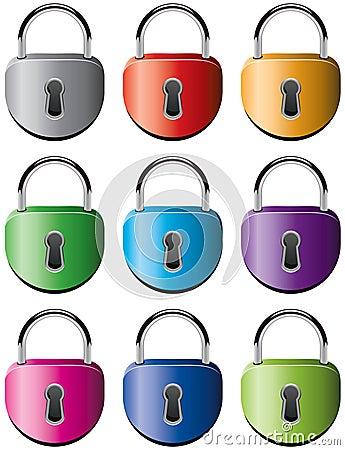 Colorful metal padlocks Vector Illustration