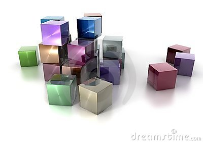Colorful metallic cubes on white background