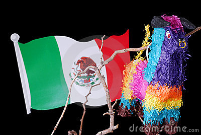 Colorful Mexican Pinata with Flag