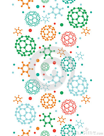 Colorful molecules vertical seamless pattern
