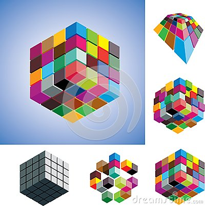 Colorful and mono-chromatic 3d cubes illustration