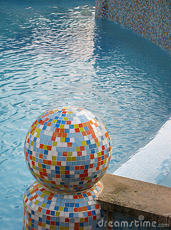 Colorful mosaic  sphere in pool