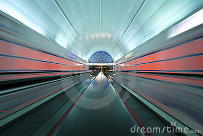 Colorful moving walkway in Las Vegas, Nevada Editorial Photography
