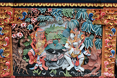 Colorful mural of Ramayana Hindu myth in Bali