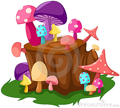 Colorful mushrooms with tree stump