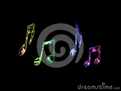 Colorful music notes Stock Photo