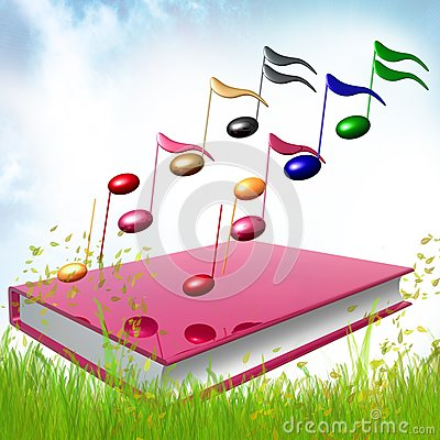 Colorful music notes icon illustration
