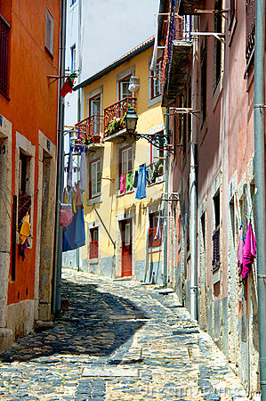 Colorful narrow portugal street