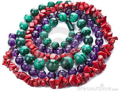 Colorful natural necklaces isolated