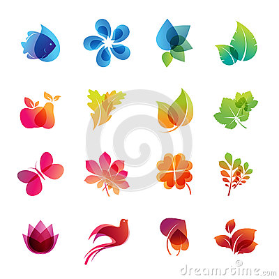 Free Colorful Nature Icon Set Stock Photos - 24700213