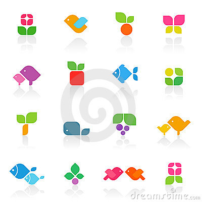 Colorful nature.  Vector logo template set.