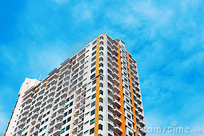 Colorful new condominium  with blue sky