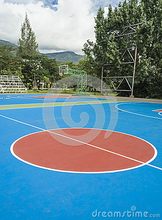 Colorful new Outdoor basketball court floor .