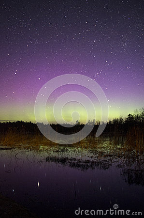 Colorful Northern Lights with Reflection on Water