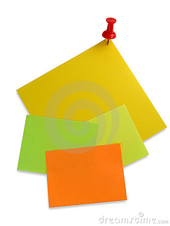 Colorful note papers with red