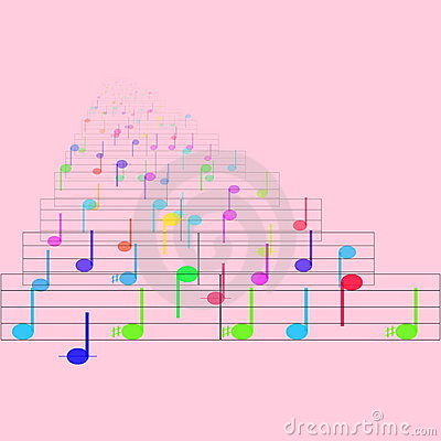 Colorful notes sheet music