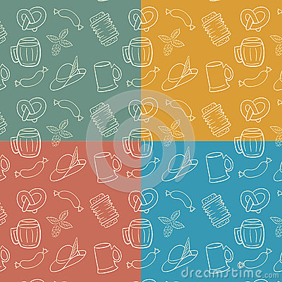 Colorful Octoberfest Seamless Background.