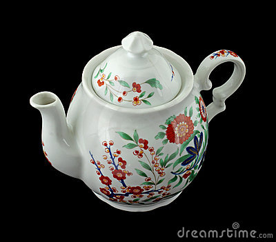 Colorful old floral design teapot