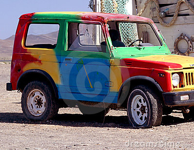 Colorful old off road car