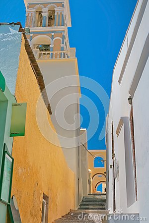 Colorful old street in Santorini