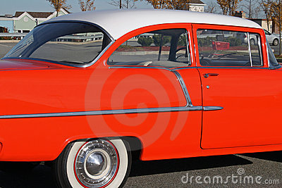 Colorful orange fifties car