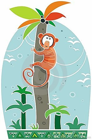 Colorful orange monkey on palm tree