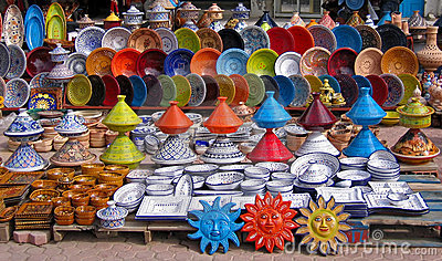 Colorful Oriental Pottery Bazaar Stock Photos - Image: 12793873