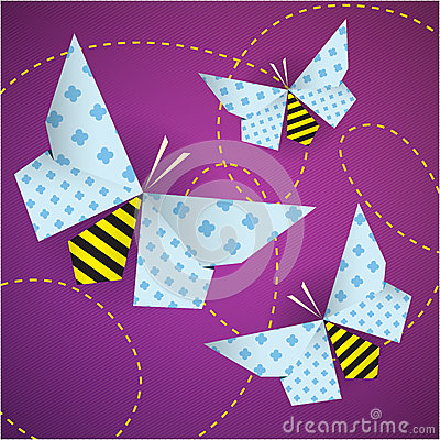 Colorful origami bees with patterns