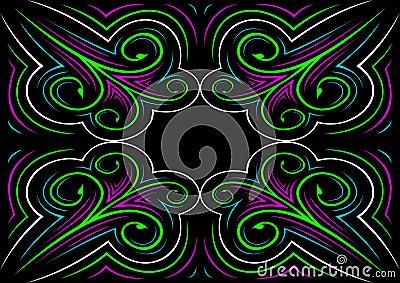Colorful ornament on black background Vector Illustration