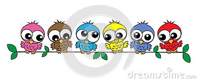 Colorful owls Vector Illustration