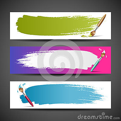 Colorful Paint brush background set