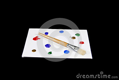 Colorful Paint Palette on Isolated Black Background
