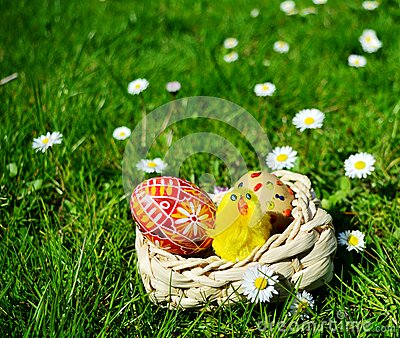 Colorful painted easter eggs on a basket on a green grass Stock Photo