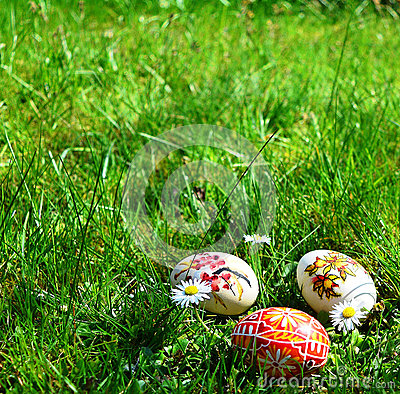 Colorful painted easter eggs on a green grass Stock Photo
