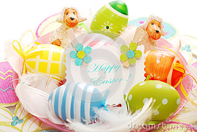 Colorful easter eggs and greetings card
