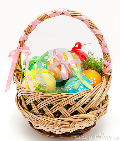 Free Colorful Painted Easter Eggs In Basket Isolated Stock Photography - 37799662