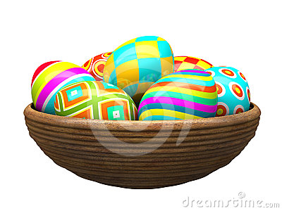 Colorful painted easter eggs in wood plate