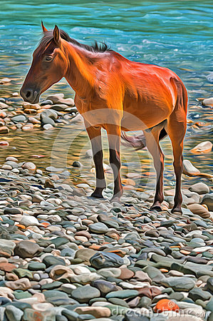 Colorful painting of brown horse on mountain river