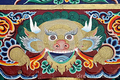 Colorful painting from a Buddhist temple in Ladakh