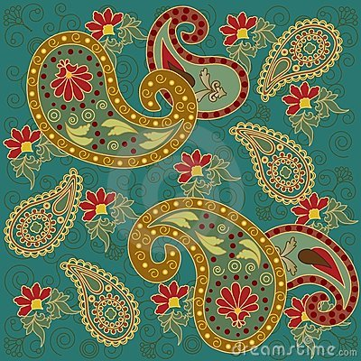 Colorful Paisley in Green